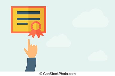 Hand pointing to a certificate - A hand pointing to...