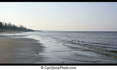 Sand beach in Baltic sea , Riga Latvia