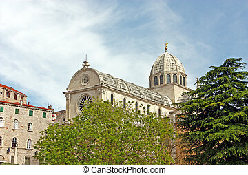 Cathedral in Sibenik - The Cathedral of St James in Sibenik,...