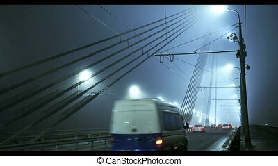 Stone Vansu bridge across Daugava river in Riga, Latvia