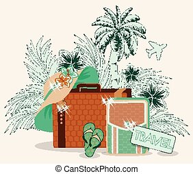 Summer travel card, vector illustration