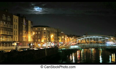 Night view of HaPenny Bridge - Night view of famous HaPenny...