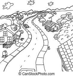 Outline Cartoon of Homes in Rural Scene - Outline cartoon of...
