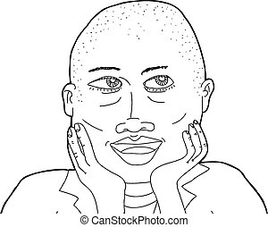Outline of Happy Bald Woman - Outline of beautiful African...