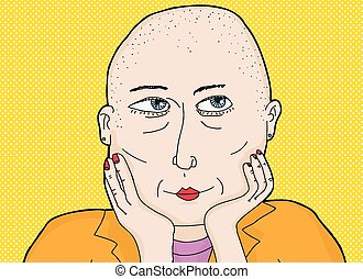 Happy Lady with Shaved Head - Cartoon of thoughtful grinning...