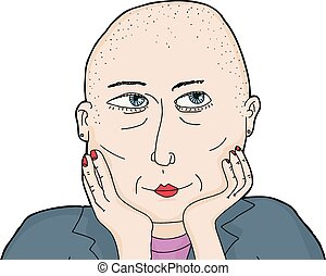 Isolated Wondering Woman with Shaved Head - One isolated...