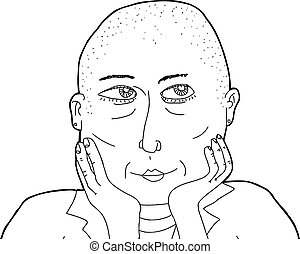 Outline of Thinking Bald Female - Outline cartoon of...