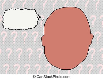Blank Face with Thought Bubble - Blank face over question...