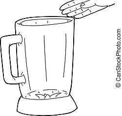 Outline of Hand Over Blender - Hand drawn hand over empty...