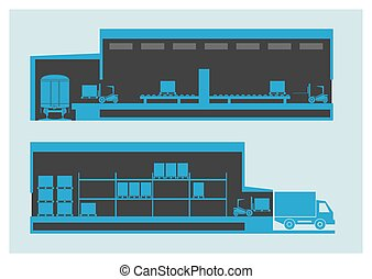Warehouse The unloading and loading process Vector...