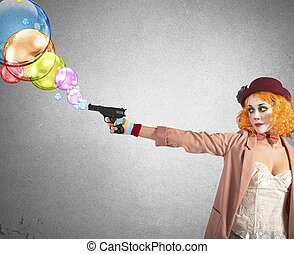 Gun shoots bubbles - Clown thief shoots bubbles from her gun