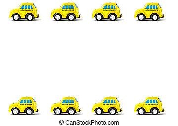 marco, de, schoolbus, juguete, coche,