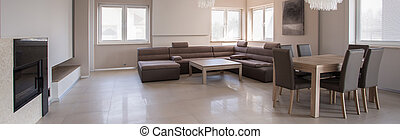 Exclusive sitting room interior in beige design