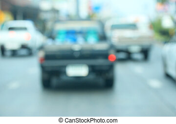 Blurred of car in city