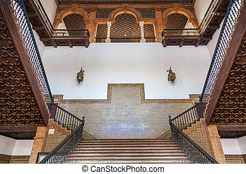Spanish Renaissance Revival Staircase - Saville, Spain. Old...