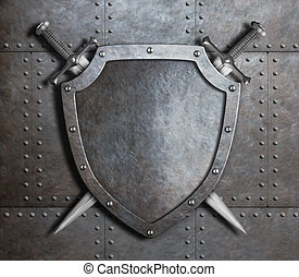 knight shield and two crossed swords over armor plates or...