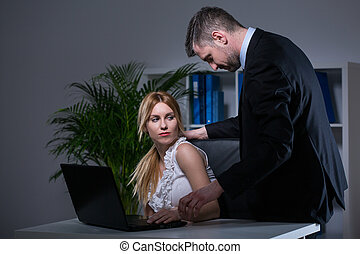 Sexual bullying at work - Older handsome employer sexual...