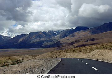 Road in the mountains of Tibet
