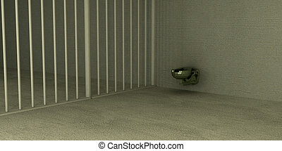 even in prison - a simple metal toilet sits in the corner of...