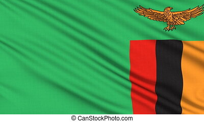 Zambia flag, with real structure of a fabric