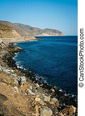 View of the Pacific Coast, in Malibu, California.