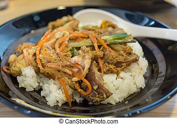 Japanese food rice serves with chicken