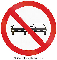 No Overtaking in Argentina - Argentinian traffic sign: No...