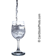 Drinking water is poured into a glass