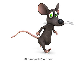 help me - a mouse runs away from something scary on a white...
