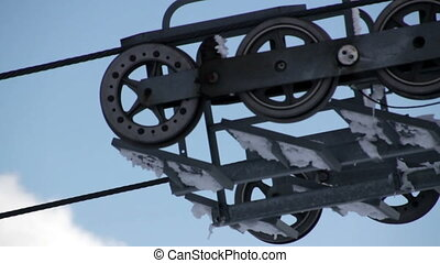 Rolling Wheels of ski lift station
