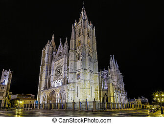 Gothic cathedral of Leon, by night - Gothic cathedral of...