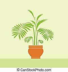 green leave flower in pot vector