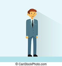 Businessman Full Length Business Man Flat Vector...