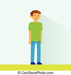 Casual Man Standing Full Legnth Colorful Flat Vector...