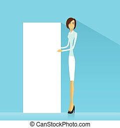 businesswoman with white board, signboard, showing an empty copy space, business woman cartoon