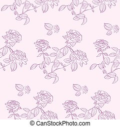 Pink Rose Flower Seamless Pattern Background Vector