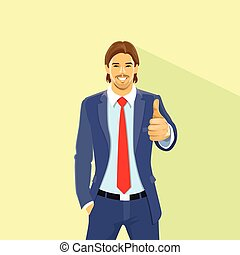 Business Man Hold Hand With Thumb Up Gesture, Businessman...