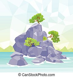Rocks Sea Shore With Tree Polygon Graphic Vector...