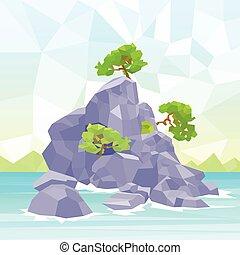 Rocks Sea Shore With Tree Polygon Graphic Vector...