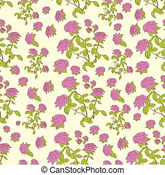pink rose flower seamless pattern vector