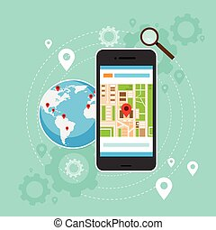 mobile cell phone world map gps globe navigation vector...