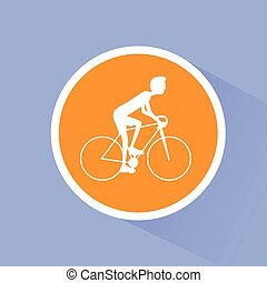Cycling sport bicycle man, road bike riders flat
