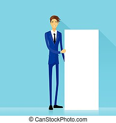 businessman with white board, signboard, showing Copy space...