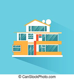 big modern villa house icon flat design vector illustration