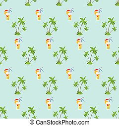 plam tree green pattern with cocktail straw vector...