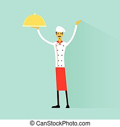 Cartoon Chef Cook with delicious dish full length flat...