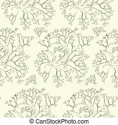 tree branch pattern green vector seamless