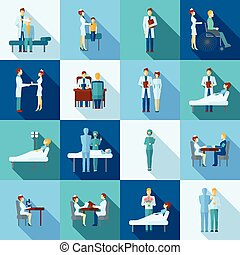 Doctors Icons Set - Doctors occupation professional health...