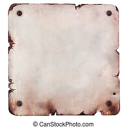 Rusty metal plate isolated - Rusty metal plate with bolts...