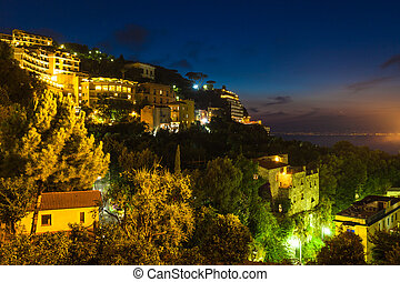 Night view of Sorrento and the Mediterranean Sea, Amalfi...